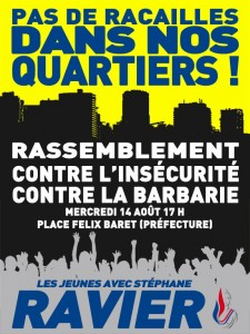 """No Thugs in our Neighborhoods!"" Rally against Insecurity and Barbarity The Youth with Stéphane Ravier"