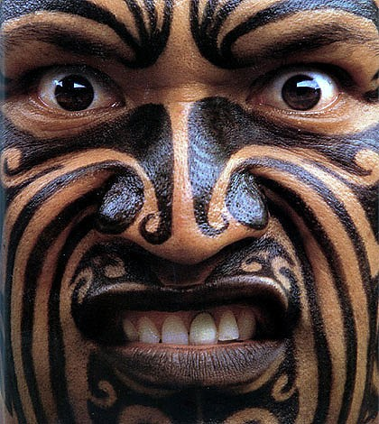 Maori male.  Face tattoos are common among this primitive race, which benefits from affirmative action.